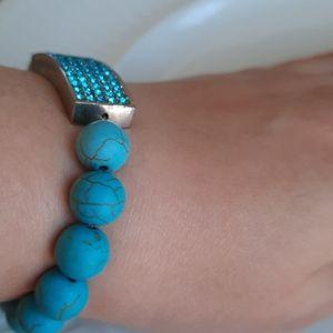 Turquoise Blue Rhinestone Stretch Bracelet Cuff